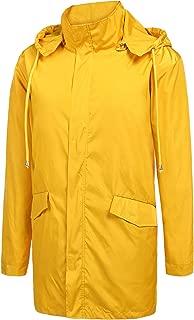 ZEGOLO Mens Raincoats Waterproof Jacket Hood Breathable Lightweight Business Long Rain Coat