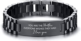 Mugart for Brother Bracelet Gifts from Brother Sister Black Stainless Steel Bracelet Jewelry for Brother Gifts You are The...