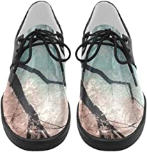 InterestPrint Beautiful Pink Cherry Tree Scene Men Sneakers Fitness Running Oxford Shoes