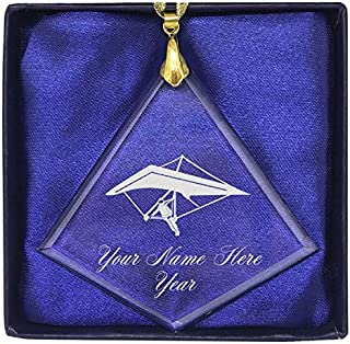 LaserGram Christmas Ornament, Hang Glider, Personalized Engraving Included (Diamond Shape)