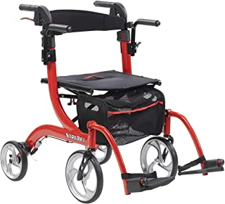 Drive Medical Nitro Duet Rollator Rolling Walker and Transport Wheelchair Chair with 2 Backrest Positions and Folding Mobi...