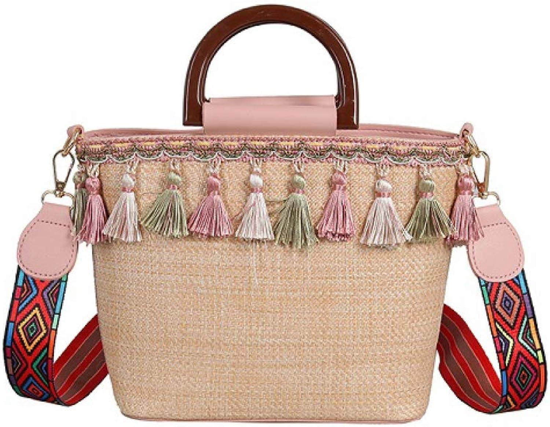 Summer Small Straw Bags Women Messnger Bags Vintage Tassel Crossbody Purse Braided Beach Tote