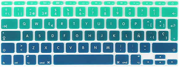 Batianda Spanish Version Ultra Thin Gradient Color Silicone Keyboard Cover Skin Protector for Apple MacBook Air 11 inch (Models: A1370 and A1465) (Gradient Green)