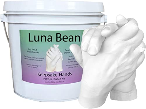 Luna Bean Keepsake Hands Casting Kit | DIY Plaster Statue Molding Kit | Hand Holding Craft for Couples, Adult & Child...