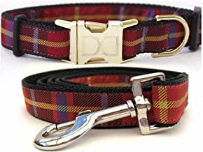 """product image for Diva-Dog 'Vixen' Custom Small Dog 5/8"""" Wide Plaid Dog Collar with Plain or Engraved Buckle, Matching Leash Available - Teacup, XS/S"""