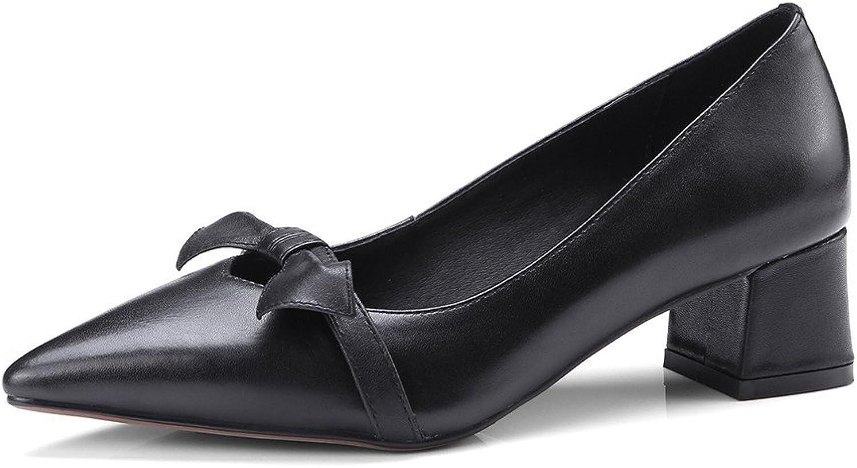 Nine Seven Genuine Leather Women's Pointed Toe Chunky Heel Handmade Business Wedding Pumps