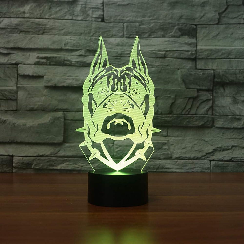 Laofan USB 7 Farbwechsel 3D Hundekopf Form Tisch Schreibtischlampe Nachtlicht Led Bulldog Kinder Nachtbeleuchtung Dekor Geschenk,Remote und berühren