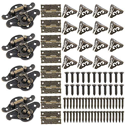 Fippy - Set di 4 scatole per gioielli con chiusura a lucchetto, stile vintage, stile vintage, con 8 cerniere quadrate e 16 protezioni angolari con viti adeguate