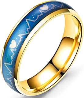 Stainless Steel Color Changing Heart Mood Ring Wedding Band Anniversary Promise