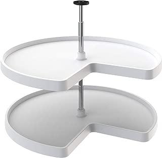Rev-A-Shelf 3472-32-11-52-22 32 Inch White Polymer Kidney Shaped 2 Shelf Lazy Susan for Kitchen Corner Base Cabinets, White