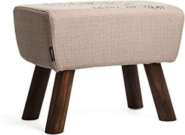 Ottomans Footstools Multi-Purpose Small Stool Be Applicable Compatible for Living Room Linen Cloth Solid Wood Stool Leg Simpl