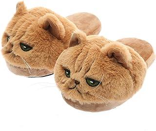 Millffy Millffy Unisex niños niñas 3D cabeza grande realista gatito gato mujer Tabby gato felpa peludas zapatillas señoras...