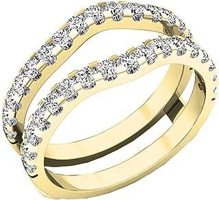 Dazzlingrock Collection 1.60 Carat (ctw) 10K Gold Round White Cubic Zirconia Wedding Enhancer Double Ring