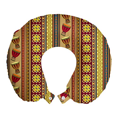 ABAKUHAUS Africano Cojín de Viaje para Soporte de Cuello, Djembe Tambores geométrica,...
