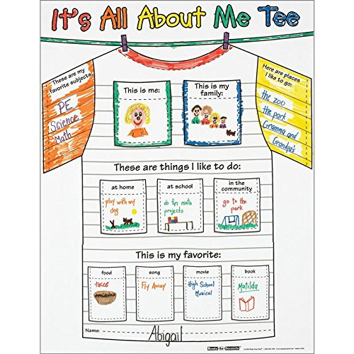 """Really Good Stuff Ready-to-Decorate All About Me Tee Posters, 17"""" by 22"""" (Set of 24) – Great Getting-to-Know-You Activity – Fun Way to Feature Students Throughout Year – Express Unique Artistic Taste"""