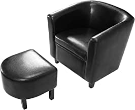 Giantex PU Leather Accent Club Chair w/Ottoman, Single Sofa w/Footrest Footstool for Kids, Tub Barrel Style Armrest Chair, Leisure Chair Wooden Frame w/Soft Sponge for Bedroom Nursery (Black)