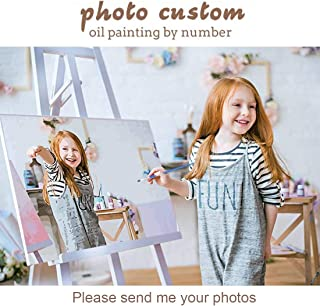 Custom Photo Paint by Numbers Kit for Adults Kids, 16x20 Inch Personalized Canvas Draw DIY Oil Painting with Your Own Pict...