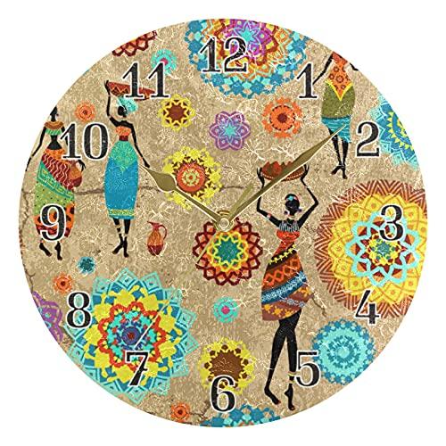 KKAYHA - Reloj de pared con mandala, estilo tribal africano, 25 cm, funciona con pilas, silencioso, no hace tictac, decorativo para dormitorio, hogar, sala de estar, puntero dorado