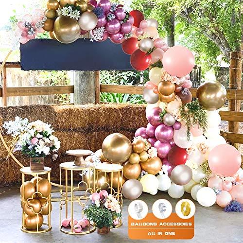Kit de guirnalda de globos, globos metálicos dorados, plateados y rosados Macaron, globos de látex blancos y rosados, globos dobles rojos con flores artificiales para decoraciones de cumpleaños, bodas
