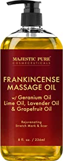 Stretch Mark and Scar Frankincense Massage Oil By Majestic Pure, for Softer & Smoother Skin - Visibly Reduces Appearances of Scars and Stretch Marks - 8 fl oz
