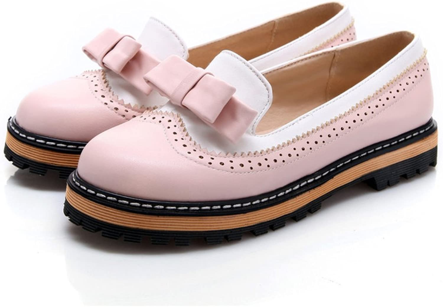 Milesline Candy color Women's Low Heel Bowknot Oxfords shoes
