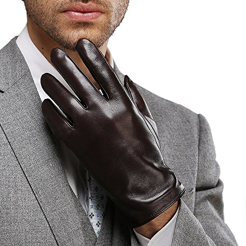 Full-Hand Touchscreen Genuine Leather Gloves, Gift Packaging, Cold Weather Gloves for Men's Texting Driving Winter (M-8.5'(US Standard Size), BLACK)