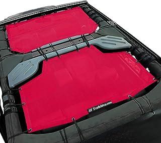 Best Shadeidea Sun Shade for Jeep Wrangler JK Unlimited (2007-2018) 4 Door-Cherry Red Mesh Screen Sunshade JKU Top Cover UV Blocker with Grab Bag - 10 Years Warranty Review