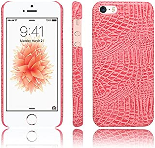 Meipa Time iPhone SE 5S Case,Luxury Classic Crocodile Skin Pattern [Ultra Slim] PU Leather Anti-Scratch PC Protective Hard Case Anti-Slippery Cover for iPhone SE/5S/5 (Color : Pink)