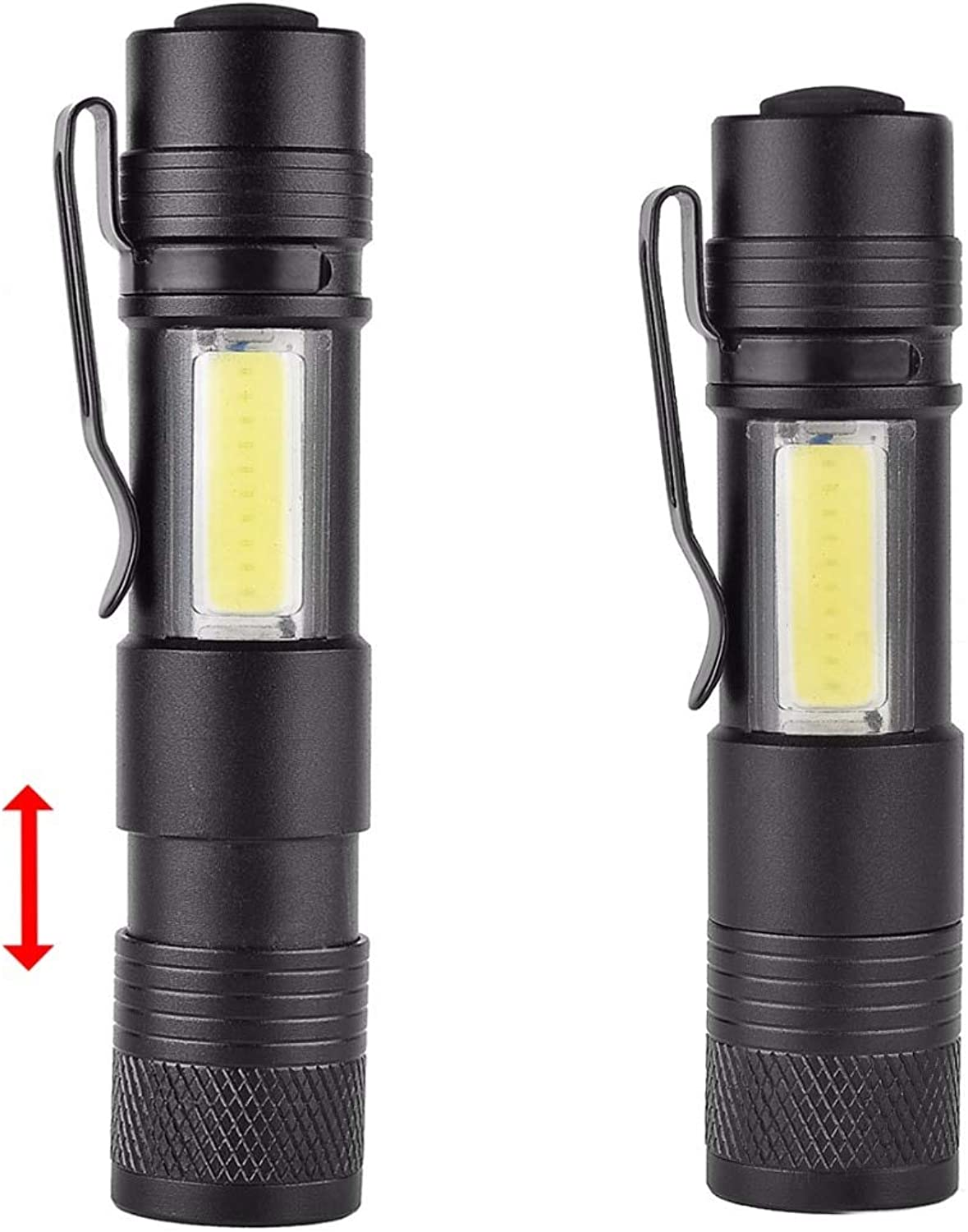 KINWAT Pen Lights Portable Mini Super Bright XPE+COB LED Flashlight Rechargeable Zoomable Torch 4 Modes Work Hunting Lamp