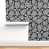 Spoonflower Peel and Stick Removable Wallpaper, Hearts Sugar Skulls Black White Calaveras Skull Dia De Los Muertos Day of The Dead Print, Self-Adhesive Wallpaper 12in x 24in Test Swatch