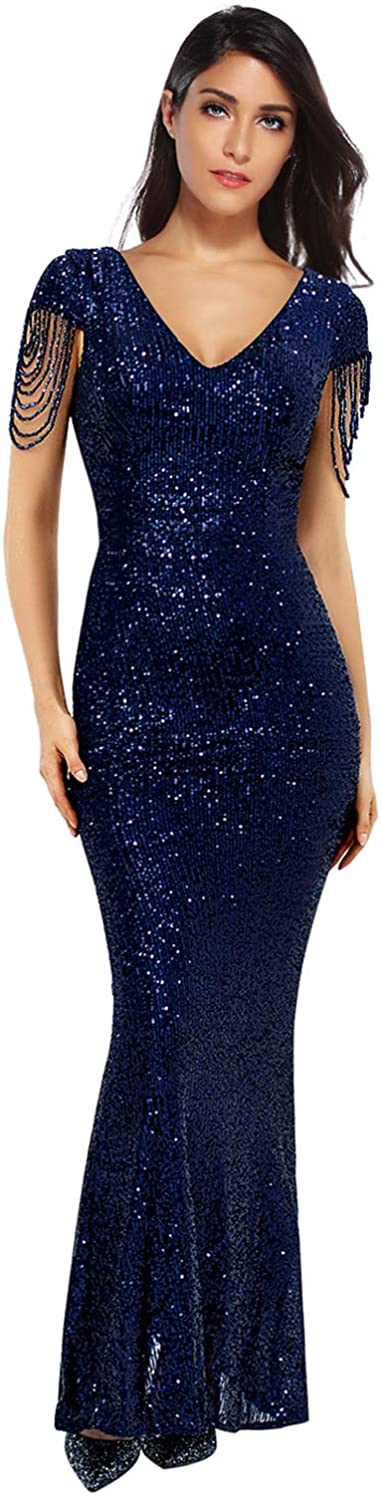 Women's V Neck Sequins Mermaid Gown Long Prom Evening Party Dress