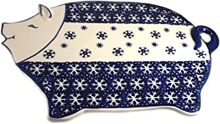 Polish Pottery Pig Shaped Serving Plate Cutting Board in PZ or Snowflake