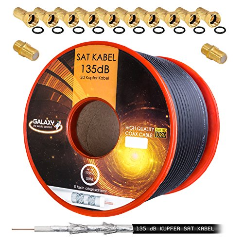 135dB 50m Koaxial SAT Kabel Reines KU Kupfer PRO 5-Fach geschirmt Schwarz Black Koax Antennenkabel für DVB-S / S2 DVB-C und DVB-T BK Anlagen + 10x vergoldete F-Stecker UND 2X F-Verbinder Gratis dazu