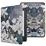 WALNEW Cover Case for All-New Kindle 10th Gen 2019 Released (Model No. J9G29R) - Slim Auto Wake/Sleep Protective Case for Kindle 2019 (Will Not Fit Kindle Paperwhite or Kindle Oasis), White Flowers
