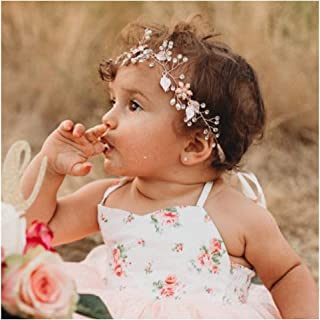 SWEETV Flower Girl Headband for Wedding, Baby's Breath Hair Piece, Rose Gold Headpiece for Birthday Party, Photography