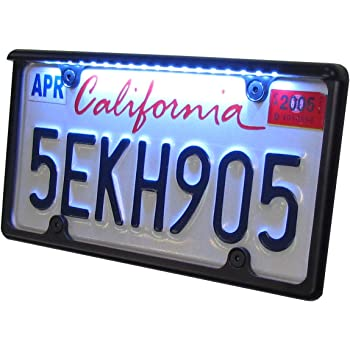 Automotive size License Plate Frame Black finish with White LED to light up license plate- Includes hardware