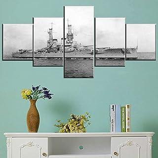 ADünya Lienzo De Pintura Con 5 Paneles. Barco Oceánico Más Antiguo De La Segunda Guerra Mundial. 100 * 55 Cm (39.3 In * 21.6 In) Pared Arte Lienzo Pintura En La Pared Decoración Cuadros Posters Par