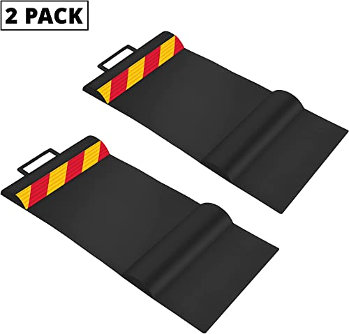 discount RaxGo Car Parking 2021 Mat, Garage Wheel Stopper Parking Aid, Tire Guides for Cars, Trucks & Vehicles | Anti-Skid Grips, Easy Install Adhesive, Carry sale Handles & Reflective Strips, Black | Pack of 2 Mats sale