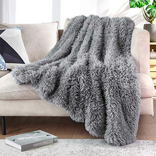 """Lvylov Solid Thick Fuzzy Faux Fur Throw Blanket 50"""" x 60"""",Decorative Soft Cozy Shaggy Fluffy Blanket,Comfy Accent Chic Plush Furry Blanket for Sofa/Couch/Bed,Gift Package with Washing Bag,Gray"""