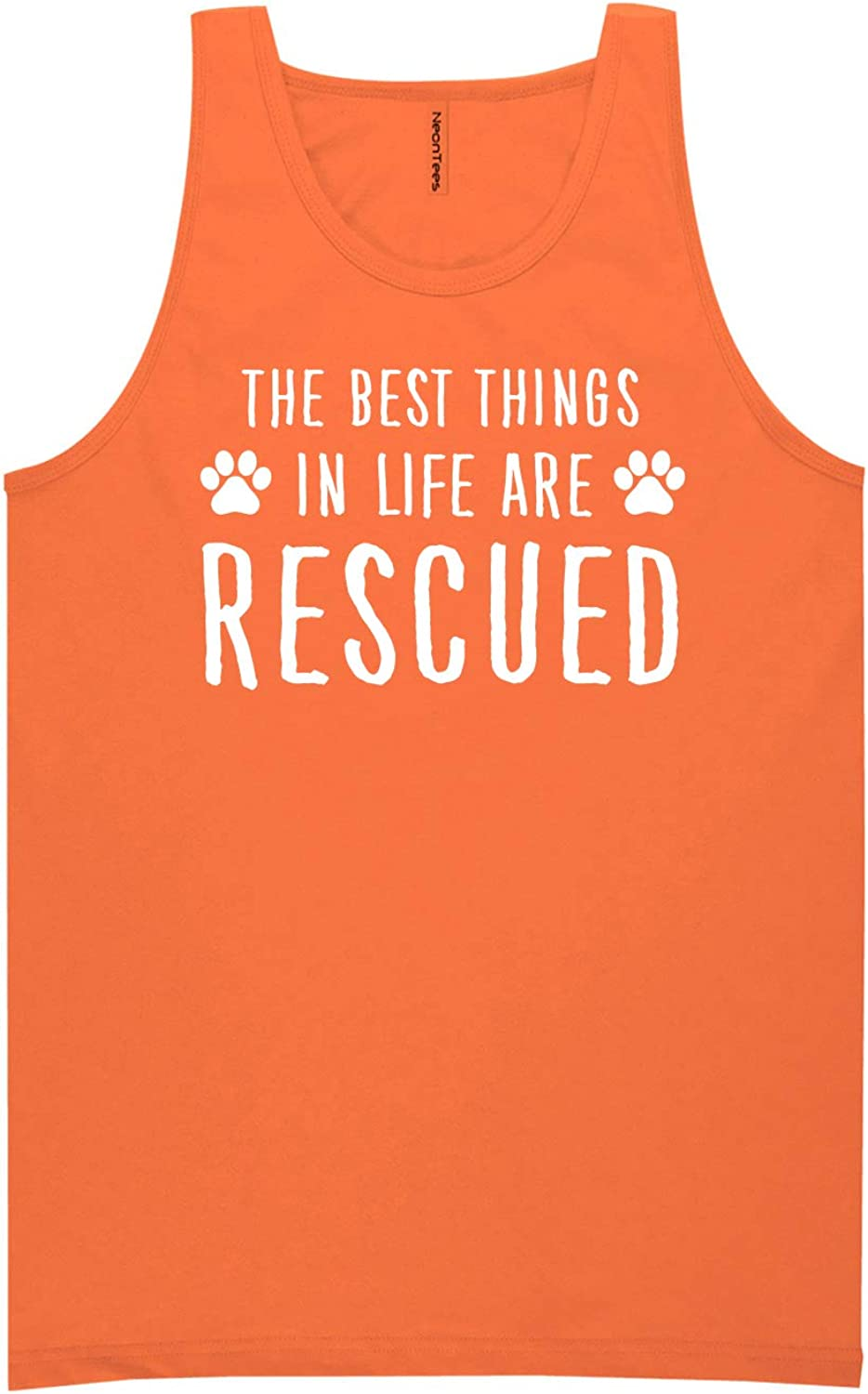 Best Things in Life are Rescued Neon Orange Tank Top - XX-Large