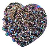 SUNYIKLoveHeartRainbow TitaniumCoatedQuartzCrystalCluster,HealingCrystalDrusyGeodeGemstoneSpecimenFigurineforValentine'sDay,1.9-2.7''
