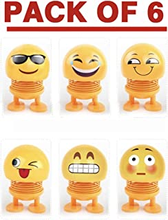 BenOnline Spring Emoji Shaking Head Dolls Smiley Face Springs Dancing Toys Action Figures Bounce Toys for Car Dashboard/Home/Table Decor(Pack of 6)