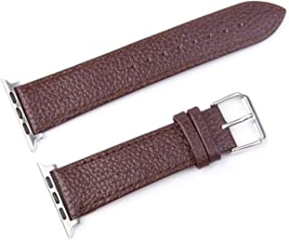 Classic Leather Bands with Stainless Metal Buckle Replacement Strap for 42mm/44mm, Brown