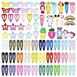 ECADY Hair Clips Colorful Hair Barrette Metal Cute Snap Hair Clips for Girls, Toddlers, Kids - 2 inch, 100pcs