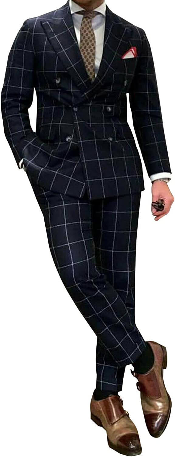 P&G Men's Slim Fit 2 Pieces Checked Suit Double Breasted Tuxedo