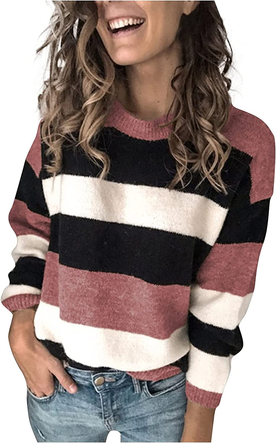 Sweaters for Women Casual Cable Knit Sweater Fashion Loose Pullover Tops