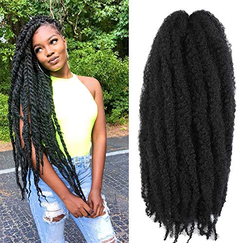 Ago Cuban Twist Hair 16inch Marley Twists Hair 6packs Corchet Hair Braids ColorfulHair Afro Kinky Marley Crochet Braiding Hair Extension (16inch, 1#)