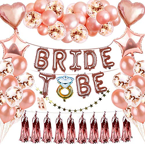 Rosegold Deko Party, KIPIDA Braut to Be Deko,Bride To Be Banner Deko,Brautdusche Junggesellenabschied Folienballon Konfetti Herz Luftballons Stern Girlande für Tochter Mädchen Abschied Verlobung Party