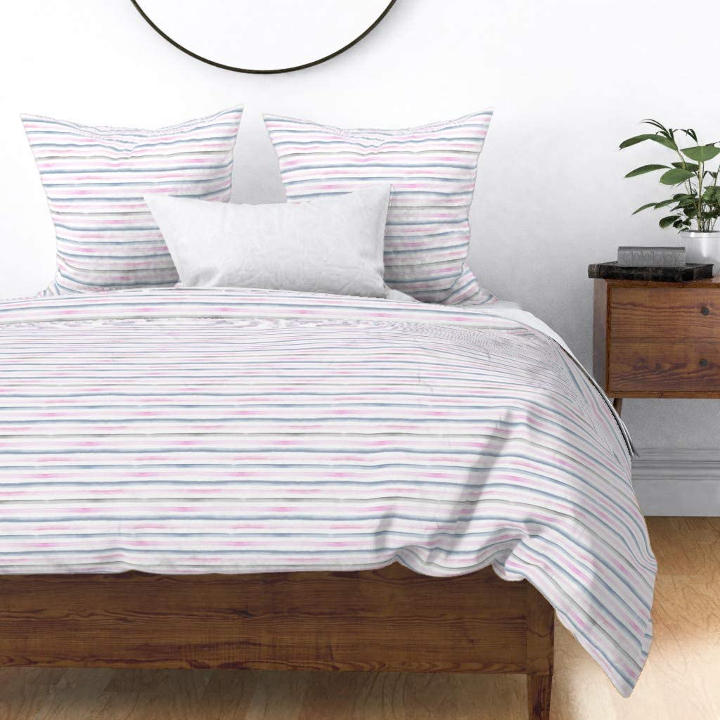 Roostery Spoonflower Same day shipping Duvet Popular overseas Cover Rainbow Blue Stripe Pink Gray