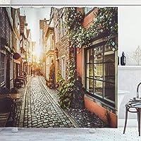 Bigleaderシティシャワーカーテン、旧市街写真ヨーロッパシーンヴィンテージ建物カフェクールな建築浴室 防水 防カビ加工 洗面所 間仕切り 目隠し用 取付簡単